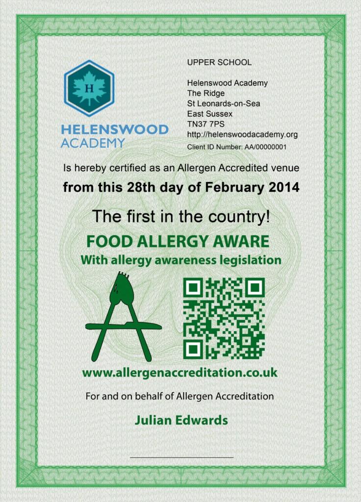 Helenswood Allergy Aware Certificate