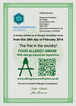 Allergen Accreditation Certificate