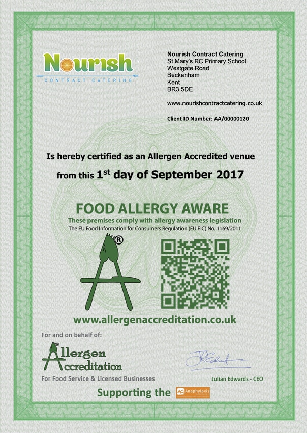 St Marys RC Primary Allergen Accreditation Certificate