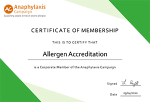 Anaphylaxis Ceretificate